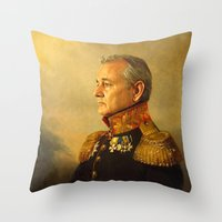 floral pattern Throw Pillows featuring Bill Murray - replaceface by replaceface