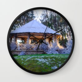 Kiosk in winter Wall Clock