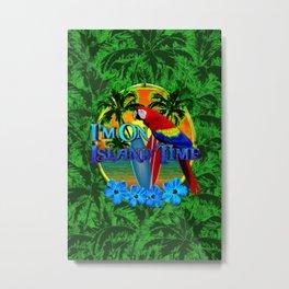 Island Time Surfing Palm Trees Metal Print