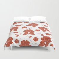 vintage floral Duvet Covers featuring Vintage Floral by She's That Wallflower