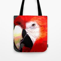 parrot Tote Bags featuring Parrot by Whimsy Notions Designs