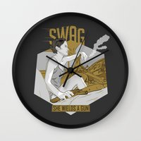 swag Wall Clocks featuring SWAG by RJ Artworks