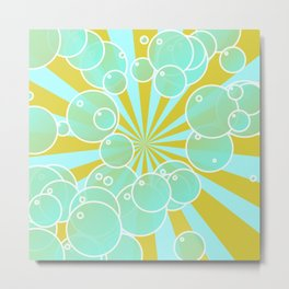 Aqua bubbly art Metal Print