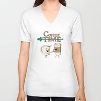 coffee V-neck T-shirts featuring Coffee Time! by powerpig