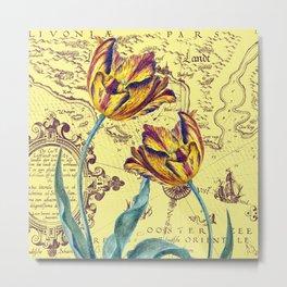 Yellow Tulips Sun Metal Print