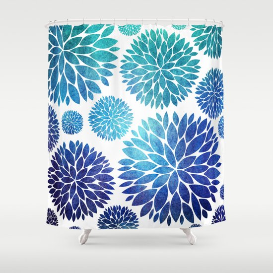 Ocean Flowers Watercolor Shower Curtain