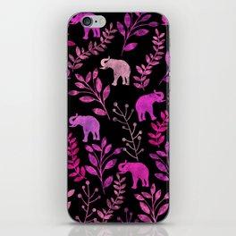 Watercolor Flowers & Elephants III iPhone Skin