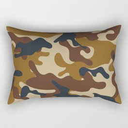 Brown Army Camo Camouflage Pattern Rectangular Pillow
