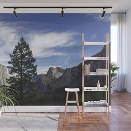 A Big Tree Against the Mountains Wall Mural