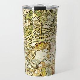 Alphonse Mucha  -  Lady With Daisy Travel Mug