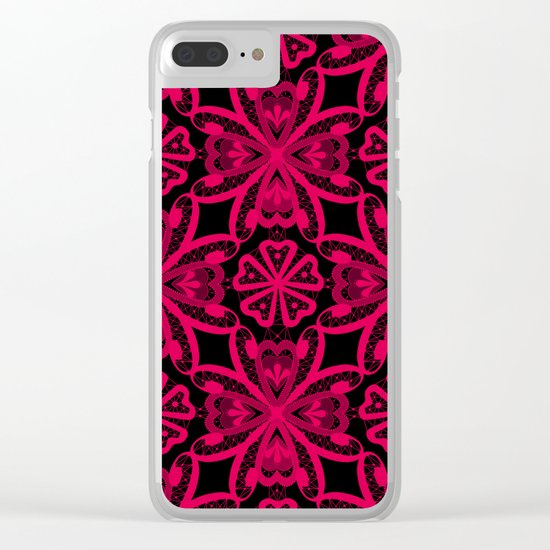 Red Lace on black . Clear iPhone Case