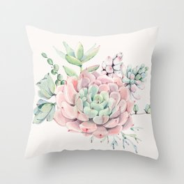 Perfect Pink Succulent Throw Pillow