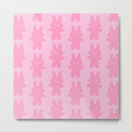 Pink Bunnies Pattern Metal Print