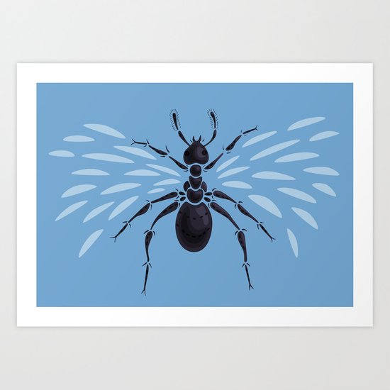 Weird Abstract Flying Ant Art Print