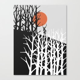 Red sun with deer Canvas Print
