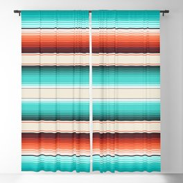 Navajo White, Turquoise and Burnt Orange Southwest Serape Blanket Stripes Blackout Curtain