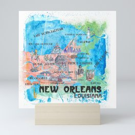 New Orleans Louisiana Illustrated Map with Main Roads Landmarks and Highlights Mini Art Print