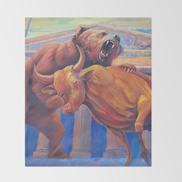 Bear vs Bull Throw Blanket