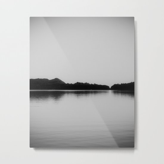 Herring Lake Black and White Metal Print