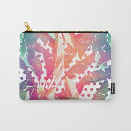 Abstract pink coral green watercolor polka dots banana leaves Carry-All Pouch