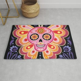 Sugar Skull Butterfly Art - Psychedelic Day of the Dead Skull Art by Thaneeya McArdle Rug