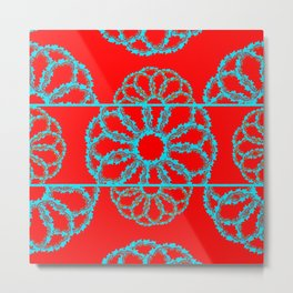 Turquoise & Red Overlapping Scalloped Links & Rings Metal Print