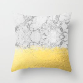 Marble with Brushed Gold - Gold foil, gold, marble, black and white, trendy, luxe, gold phone Throw Pillow
