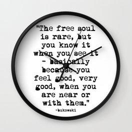 Charles Bukowski Typewriter Quote Free Soul Wall Clock