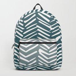 Geometric Art, Herringbone Mudcloth, Grey Teal, Boho Art Backpack