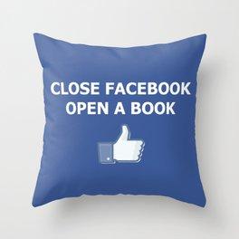 Close Facebook Open a Book Conceptual Art Thinking True Throw Pillow