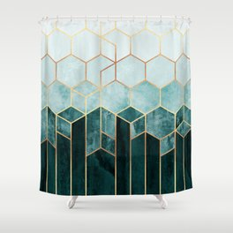 Teal Hexagons Shower Curtain