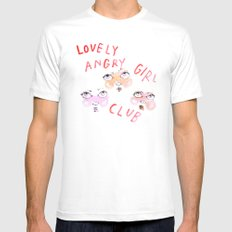 Lovely angry girl club LARGE White Mens Fitted Tee