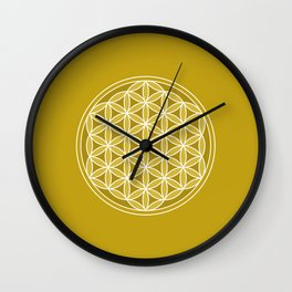 Flower of Life – Golds & White Wall Clock