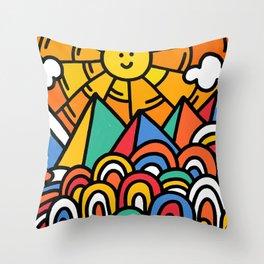 Shiny happy land Throw Pillow