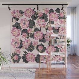 Girly Blush Pink and Black Watercolor Flowers Wall Mural