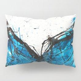 Blue butterfly ink splatter Pillow Sham
