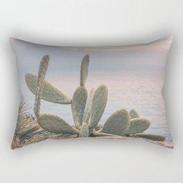 Sunset With Cactus Atlantic Ocean View Rectangular Pillow