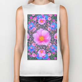 DECORATIVE PINK WILD ROSE & BLUE MORNING GLORIES   ART Biker Tank
