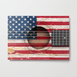 Old Vintage Acoustic Guitar with American Flag Metal Print