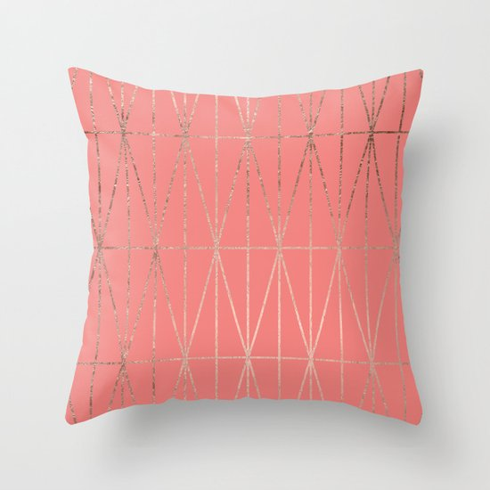 Modern geometric triangles faux rose gold coral pattern Throw Pillow by Girly Trend Society6
