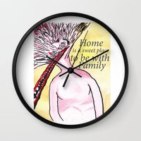 home sweet home Wall Clocks featuring Home by Parker Winans