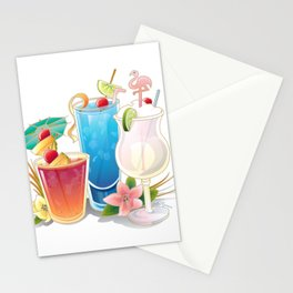 Tropical Drinks 3 Stationery Cards