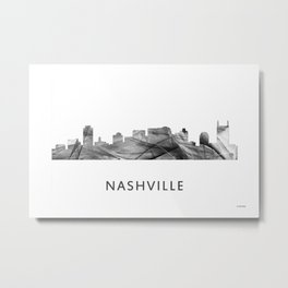 Nashville, Tennessee Skyline WB BW Metal Print