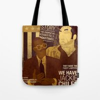 seinfeld Tote Bags featuring For Seinfeld Fans pt.2 by Alain Cheung