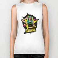 batgirl Biker Tanks featuring Batgirl by viviennart