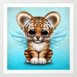 Cute Baby Tiger Cub with Fairy Wings on Blue Art Print