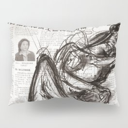 Brave - Charcoal on Newspaper Figure Drawing Pillow Sham