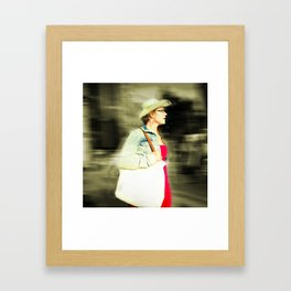 She is proud with her straw hat Framed Art Print