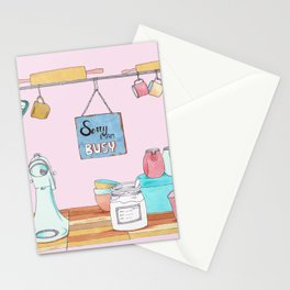 sorry I´m busy Stationery Cards