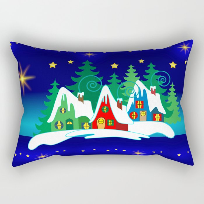 Christmas, Home for the Holidays Midnight Blue, Holiday Fantasy Collection Rectangular Pillow